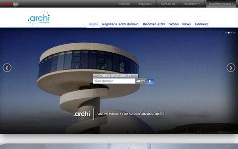 Screenshot of Home Page dot-archi.com - Index | .ARCHI | Online Visibility for Architects Worldwide - captured Oct. 7, 2014