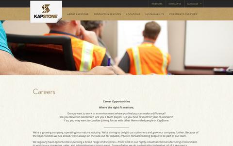 Screenshot of Jobs Page kapstonepaper.com - Careers | KapStone Paper and Packaging | KapStone - captured Oct. 27, 2014