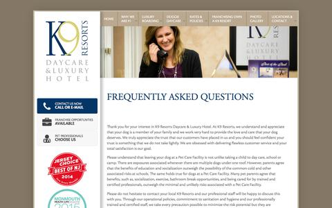 Screenshot of FAQ Page k9resorts.com - Frequently Ask Questions FAQs | K9 Resorts | Daycare & Luxury Hotels - captured Sept. 26, 2017
