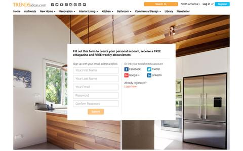 Screenshot of Signup Page trendsideas.com - Trends - for homes, products, services & ideas - captured Nov. 7, 2016