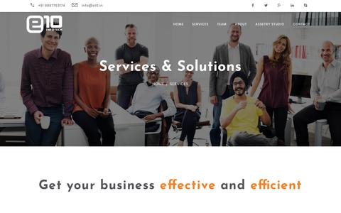 Screenshot of Services Page e10.in - e10  - Services - captured July 22, 2018