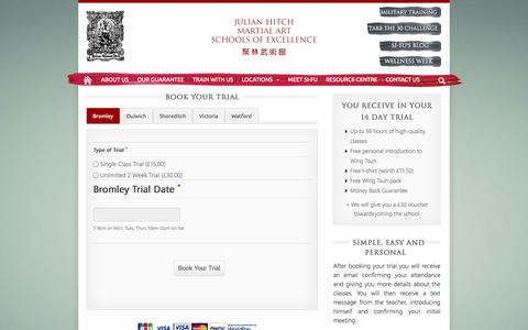 Screenshot of Trial Page julianhitchmase.com - Trial | Julian Hitch Martial Art Schools of Excellence - captured Oct. 6, 2014