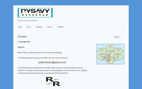 Screenshot of Contact Page rysavy.com - Contact | - captured Nov. 2, 2017