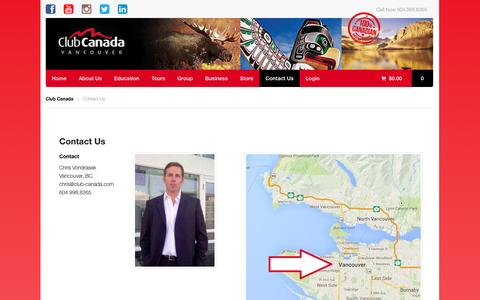 Screenshot of Contact Page club-canada.com - Contact Us | Club Canada - captured Oct. 2, 2014