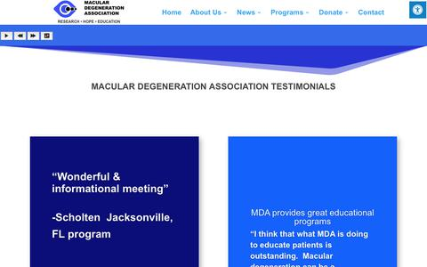 Screenshot of Testimonials Page macularhope.org - Testimonials | Macular Degeneration Association - captured Oct. 1, 2018