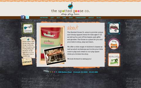 Screenshot of About Page thespottedgoose.com - ABOUT - captured Oct. 9, 2014