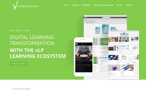 Screenshot of Home Page v-learningsolutions.com - Digital learning platform - vLearning Solutions - captured Oct. 19, 2018