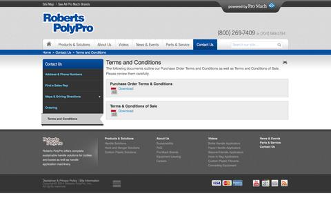 Screenshot of Terms Page robertspolypro.com - Terms and Conditions  - Roberts PolyPro - captured Oct. 6, 2014