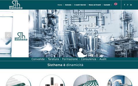 Screenshot of Home Page sisthema.biz - Sisthema srl - Convalida e Taratura aziende farmaceutiche Novate Milanese - captured July 27, 2018