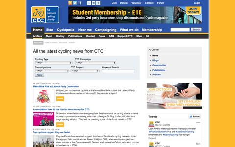 Screenshot of Press Page ctc.org.uk - All the latest cycling news from CTC | CTC - captured Sept. 23, 2014