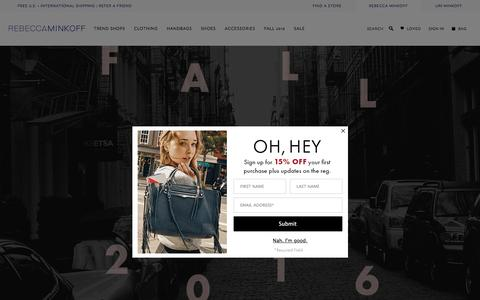 Screenshot of Home Page rebeccaminkoff.com - Rebecca Minkoff Online Store: Handbags, Clothing, Shoes, & Accessories  | Rebecca Minkoff - captured Sept. 21, 2016