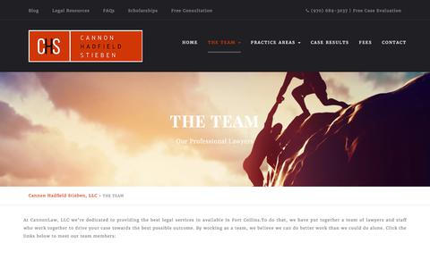 Screenshot of Team Page cannonlaw.com - The Team of Personal Injury Attorneys | Fort Collins | Cannon Hadfield Stieben LLC - captured July 14, 2017