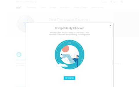 Screenshot of Support Page nest.com - Nest ThermostatE support   Nest - captured Jan. 14, 2018