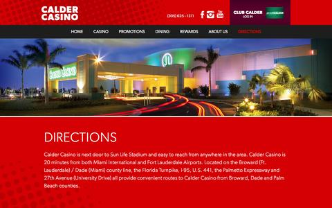 Screenshot of Contact Page Maps & Directions Page caldercasino.com - Calder Casino - Directions - captured Jan. 24, 2016