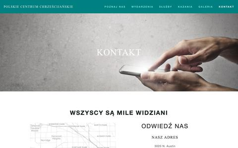 Screenshot of Contact Page polskiecentrum.com - Kontakt — Polskie Centrum Chrześcijańskie - captured Nov. 30, 2018