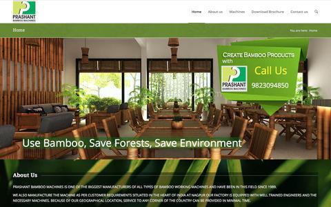 Screenshot of Home Page prashantbamboo.com - Prashant Bamboo Machines   Bamboo Product Making Machine - captured Sept. 24, 2018