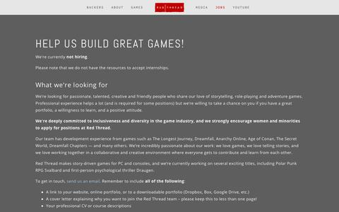 Screenshot of Jobs Page redthreadgames.com - Jobs — red thread games - captured Feb. 23, 2019