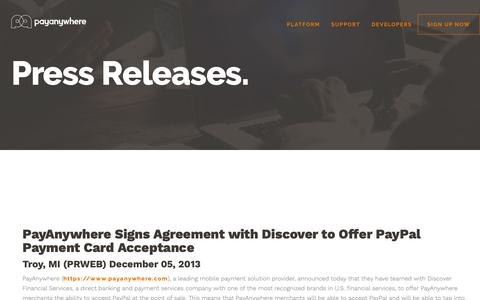 Screenshot of Press Page payanywhere.com - PayAnywhere Signs Agreement with Discover to Offer PayPal Payment Card Acceptance | PayAnywhere - captured Sept. 28, 2018