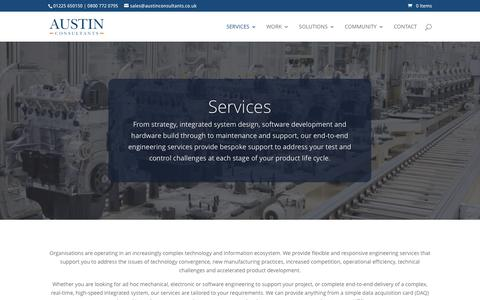 Screenshot of Services Page austinconsultants.co.uk - Austin Consultants   Mechanical, Electronic and Software Engineering Services - captured May 31, 2017
