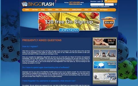 Screenshot of FAQ Page bingoflash.com - FAQ - captured Sept. 30, 2014