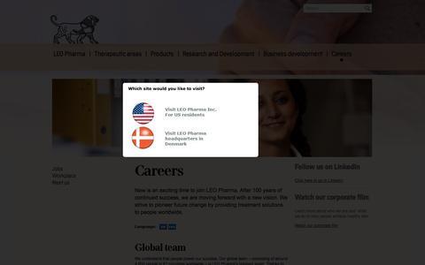 Screenshot of Jobs Page leo-pharma.com - LEO Pharma - Careers | LEO Pharma - captured Oct. 1, 2014