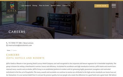 Screenshot of Jobs Page justahotels.com - Justa Hotels & Resorts - captured Nov. 14, 2018