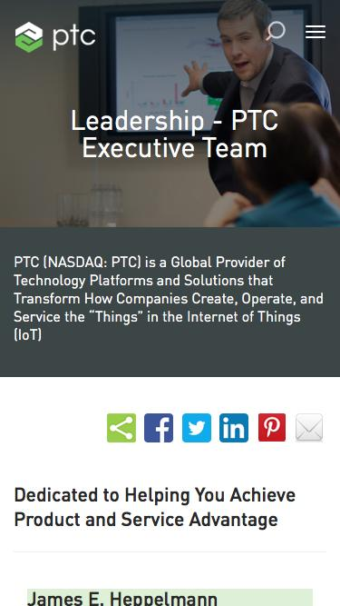 Screenshot of Team Page  ptc.com - PTC Executive Team | PTC