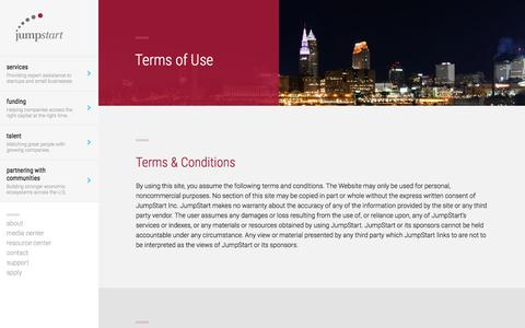 Screenshot of Terms Page jumpstartinc.org - Terms & Conditions   JumpStart Inc. - captured Aug. 5, 2016
