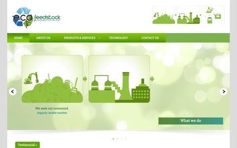 Screenshot of Home Page ecofeedstock.com - Ecofeedstock | Sensibility And Sustainability - captured Dec. 7, 2015