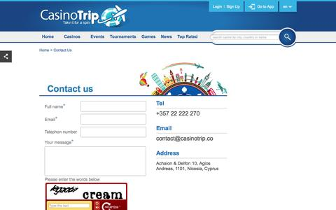 Screenshot of Contact Page casinotrip.co - Contact Us - captured Sept. 29, 2014