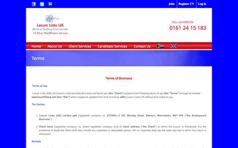 Screenshot of Terms Page locumlinksuk.com - Locum Links UK   –  Terms - captured Sept. 30, 2014