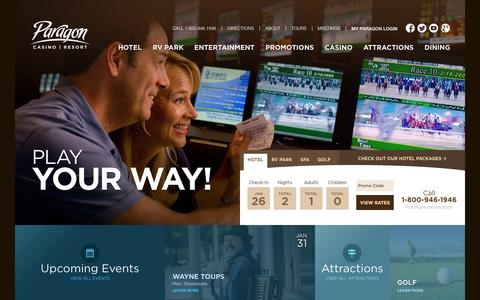 Screenshot of Home Page paragoncasinoresort.com - Welcome to Paragon Casino Resort in Marksville, Louisiana! - captured Jan. 26, 2015