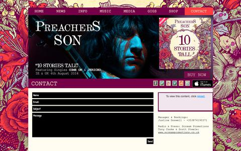 Screenshot of Contact Page preachersson.com - Preachers Son Contact - captured Nov. 28, 2018