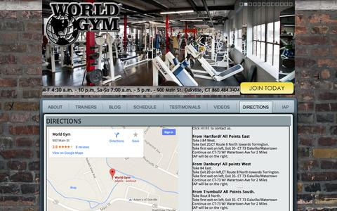 Screenshot of Maps & Directions Page ctworldgym.com - Directions   World Gym Oakville, CT – Home of Integrated Athletic Performance, Zumba, Free Weights, Pilates - captured Oct. 7, 2014