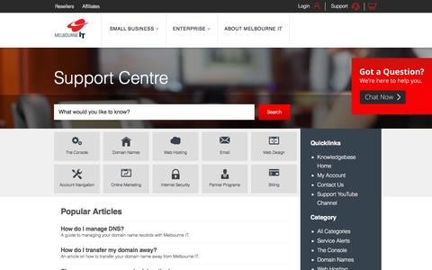 Screenshot of Support Page melbourneit.com.au - Melbourne IT Support Centre - captured May 19, 2016