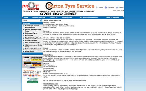 Screenshot of Terms Page motmotorsport.co.uk - MOT Motorsport Terms and Conditions - captured Oct. 3, 2014