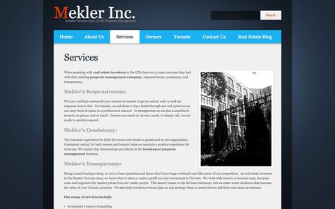 Screenshot of Services Page mekler.ca - Real Estate Services | Property Manager | Investor | Toronto | Mekler Inc. - captured Oct. 27, 2014