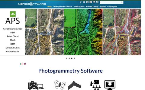 Screenshot of Home Page menci.com - Menci Software | 3D Map Software | Topography software | Image processing from Aerial, Drone and Close-range image - captured Feb. 12, 2016