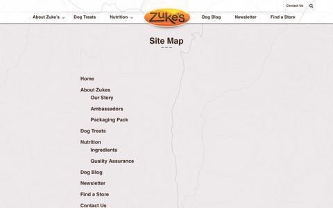 Screenshot of Site Map Page zukes.com - Site Map - Zuke's - Natural Dog Treats - captured Sept. 27, 2018