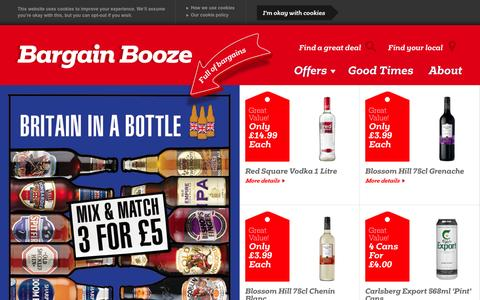 Screenshot of Home Page bargainbooze.co.uk - Bargain Booze Off Licences & Convenience Stores - captured Sept. 19, 2014