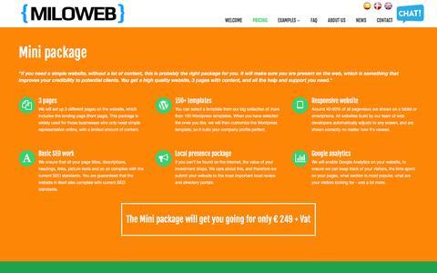 Screenshot of Pricing Page miloweb.eu - Website prices at Milo Webdesign - captured Jan. 10, 2016