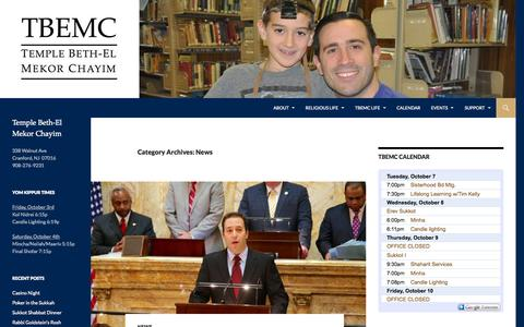 Screenshot of Press Page tbemc.org - News | Temple Beth-El Mekor Chayim - captured Oct. 7, 2014