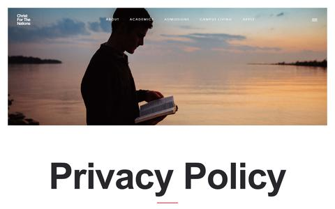 Screenshot of Privacy Page cfni.org - Christ For The Nations Institute | Privacy Policy - captured Sept. 28, 2018