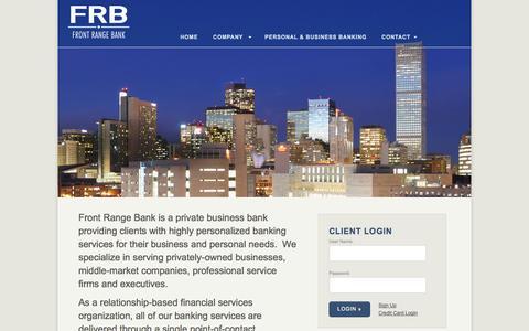 Screenshot of Home Page bankfrb.com - Front Range Bank - captured Jan. 21, 2015