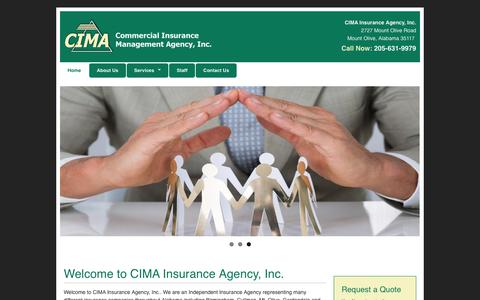 Screenshot of Home Page cimaagency.com - Personal & Business Insurance   CIMA Insurance Agency, Inc. - captured Sept. 28, 2018