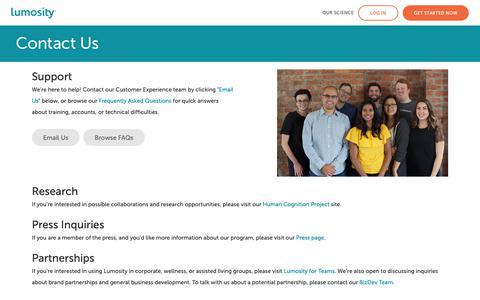 Screenshot of Contact Page lumosity.com - Lumosity - captured Dec. 21, 2018
