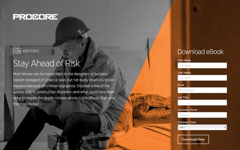 Screenshot of Landing Page procore.com - Stay Ahead of Risk - captured March 15, 2016