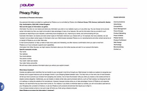 Screenshot of Privacy Page pqube.co.uk - Privacy Policy | PQube - captured Sept. 26, 2014