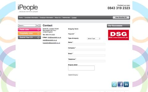 Screenshot of Contact Page ipeopleltd.co.uk - Retail Jobs in Dubai | Contact Us | iPeople Ltd - captured Feb. 2, 2016