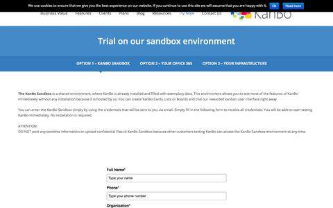 Screenshot of Trial Page kan.bo - Trial on our sandbox environment - KanBo - captured Jan. 19, 2018